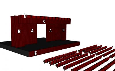 Cortinajes y telones de una embocadura de teatro
